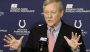 FILE - In this April 21, 2010 file photo, Indianapolis Colts' Bill Polian responds to a question during a news conference in Indianapolis. Polian built three franchises into contenders, Buffalo, Carolina and Indianapolis, and had the wisdom to draft Manning over Ryan Leaf, leading to the Colts' 2007 Super Bowl win. Also a power broker within the league, he will be inductied into the Pro Football Hall of Fame on Saturday, Aug. 8, 2015.  (AP Photo/Darron Cummings) ** FILE **