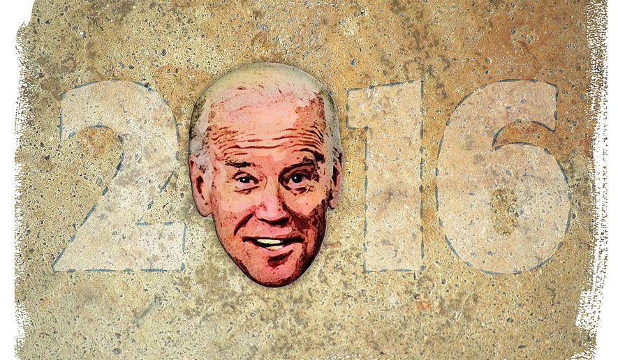 Illustration on Joe Biden running for president by Greg Groesch/The Washington Times