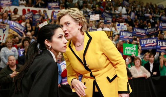 "Huma Abedin, who has been at Hillary Rodham Clinton's side as her personal assistant or ""body woman"" since the 2008 presidential race, faced criticism for standing by her husband, former Rep. Anthony Weiner, after sexting scandals that damaged his political career. (Associated Press) ** FILE **"