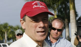 Boston Red Sox president and CEO Larry Lucchino talks to reporters after arriving at the team's baseball spring training facility in Fort Myers, Fla., Wednesday, Feb. 20, 2008. (AP Photo/Brita Meng Outzen)