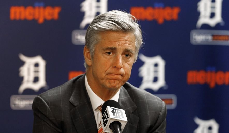 FILE - In this Oct. 14, 2014, file photo, Detroit Tigers general manager Dave Dombrowski speaks to the media during a baseball news conference in Detroit. The Tigers announced, Tuesday, Aug. 4, 2015, that assistant general manager Al Avila has been promoted to the role of executive vice president of baseball operations and general manager, relieving Dombrowski. (AP Photo/Paul Sancya, File)