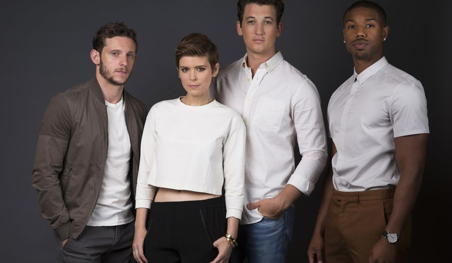 "In this Sunday, Aug. 2, 2015 photo, actors Jamie Bell, from left, Kate Mara, Miles Teller and Michael B. Jordan pose for a portrait in promotion of their role in the upcoming film ""Fantastic Four,"" in New York. The movie releases in U.S. theaters on Aug. 7, 2015. (Photo by Amy Sussman/Invision/AP)"