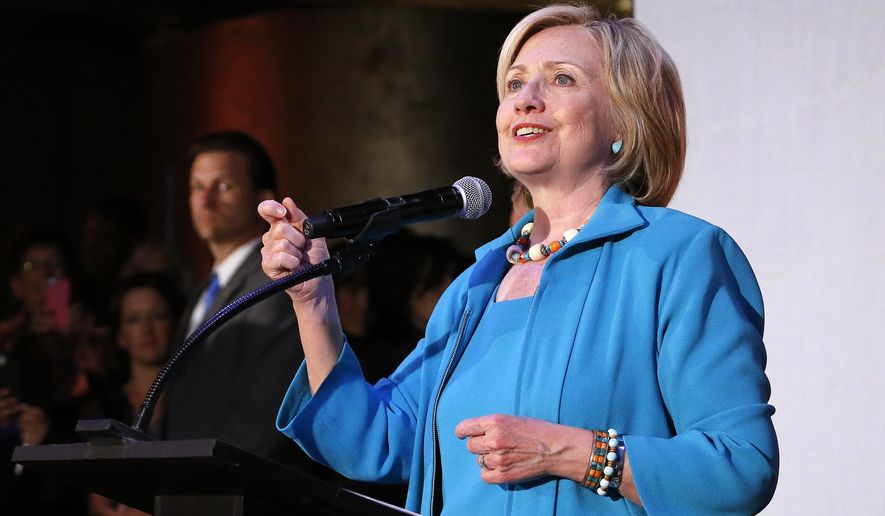 Democratic presidential candidate Hillary Rodham Clinton speaks to supporters during a campaign rally at La Rumba, a Denver dance club and restaurant, Tuesday, Aug. 4, 2015. (AP Photo/Brennan Linsley)