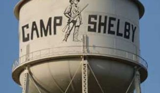 Water tower at Camp Shelby.