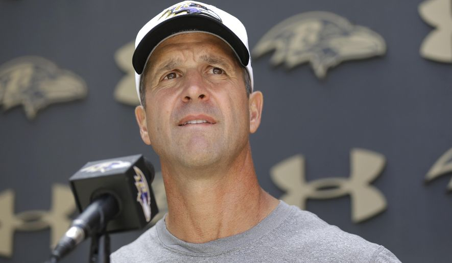 Baltimore Ravens head coach John Harbaugh speaks at a news conference after NFL football training camp, Wednesday, Aug. 5, 2015, in Owings Mills, Md. (AP Photo/Patrick Semansky)