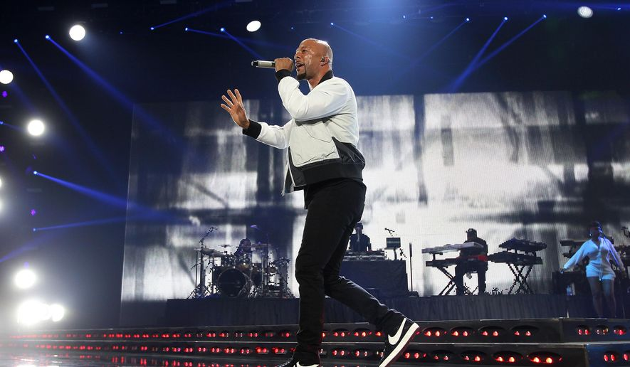 FILE - In this July 4, 2015, file photo, Common performs at 2015 Essence Music Festival Concert at Superdome in New Orleans. The activist and rapper is going to New Jersey's biggest city to take part in a rally against crime and violence. NJ.com reports Newark Mayor Ras Baraka and Common will be among those attending an Occupy the City event on Saturday, Aug. 8. (Photo by Donald Traill/Invision/AP, File)
