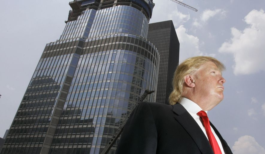 In this photo taken May 24, 2007, Donald Trump is profiled against his 92-story Trump International Hotel Tower during a news conference on construction progress in Chicago. (AP Photo/Charles Rex Arbogast, File)