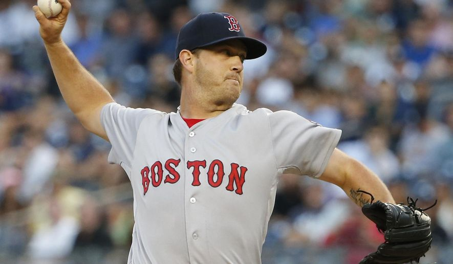Boston Red Sox relief pitcher Steven Wright delivers in the first inning of a baseball game against the New York Yankees at Yankee Stadium in New York, Wednesday, Aug. 5, 2015. (AP Photo/Kathy Willens)