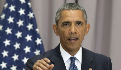 President Obama speaks Aug. 5, 2015, at American University in Washington. (Associated Press) **FILE**