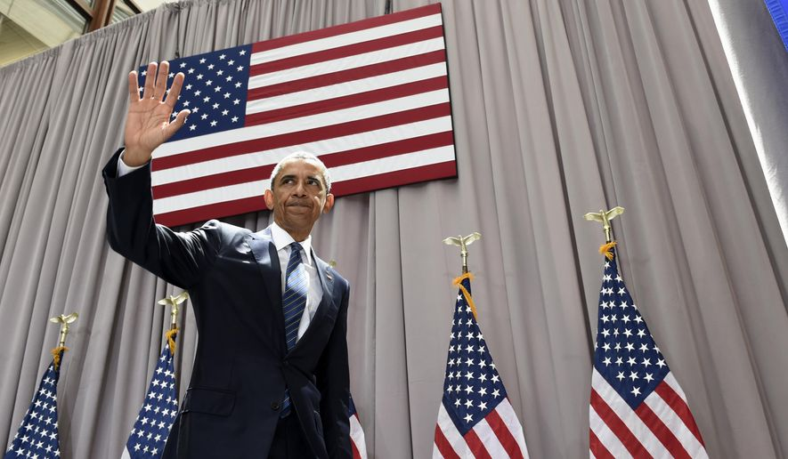President Barack Obama waves as he leaves after speaking about the nuclear deal with Iran, Wednesday, Aug. 5, 2015, at American University in Washington. The president said the nuclear deal with Iran builds on the tradition of strong diplomacy that won the Cold War without firing any shots. (AP Photo/Susan Walsh)
