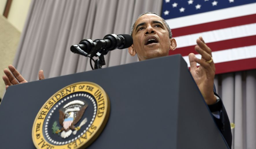 President Barack Obama speaks about the nuclear deal with Iran on Aug. 5, 2015, at American University in Washington. The president said the nuclear deal with Iran builds on the tradition of strong diplomacy that won the Cold War without firing any shots. (Associated Press)