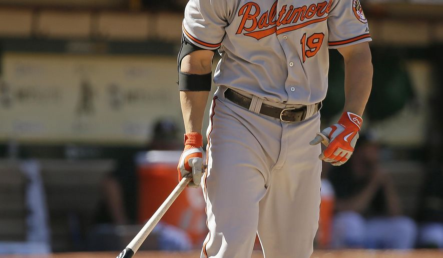 Baltimore Orioles' Chris Davis hits a grand slam off Oakland Athletics relief pitcher Arnold Leon in the 10th inning of their baseball game, Wednesday, Aug. 5, 2015, in Oakland, Calif. (AP Photo/Eric Risberg)