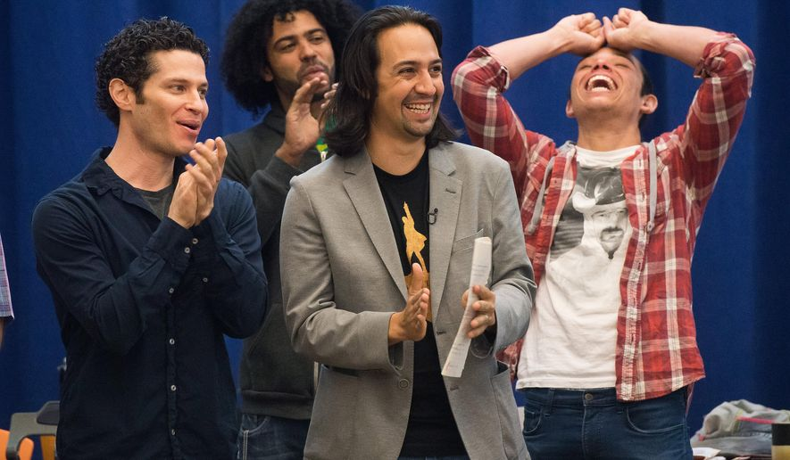 "FILE - In this June 18, 2015 file photo, ""Hamilton"" director, Thomas Kail, from left, and cast members Daveed Diggs, Lin-Manuel Miranda and Anthony Ramos begin Broadway rehearsals at the New 42nd Street Studios in New York. Few shows in recent memory have excited the New York theater community like Miranda's hip-hop flavored biography about Alexander Hamilton, the nation's first treasury secretary.  (Photo by Charles Sykes/Invision/AP, File)"