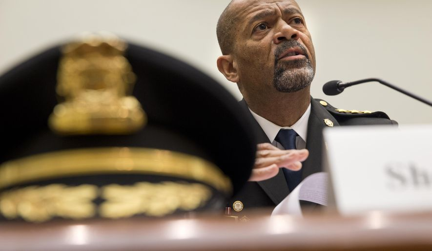 FILE - In this May 19, 2015 file photo, Milwaukee, Wis. County Sheriff David Clarke Jr. testifies on Capitol Hill in Washington. A majority of blacks in the U.S., more than three out of five, say they or a family member have personal experience with being treated unfairly by the police, and their race is the reason why.   (AP Photo/Jacquelyn Martin, File)