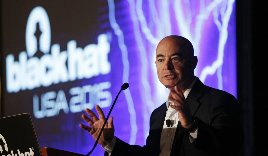Then-Deputy Secretary of Homeland Security Alejandro Mayorkas speaks at the Black Hat conference Thursday, Aug. 6, 2015, in Las Vegas. The annual computer security conference draws thousands of hackers and security professionals to Las Vegas. (AP Photo/John Locher)