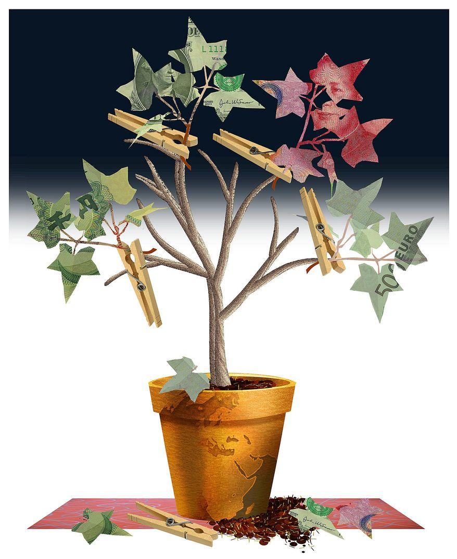 Illustration on the false growth of stimulus economies by Alexander Hunter/The Washington Times