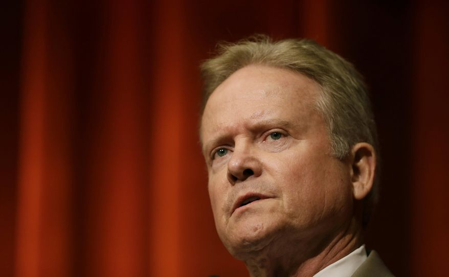 Democratic presidential candidate and former Virginia Sen. Jim Webb speaks during the Iowa Federation of Labor AFL-CIO Presidential Forum in Altoona, Iowa, on Aug. 6, 2015. (Associated Press) **FILE**