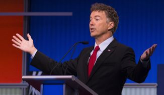 Republican presidential candidate Sen. Rand Paul, R-Ky., speaks during the first Republican presidential debate at the Quicken Loans Arena Thursday, Aug. 6, 2015, in Cleveland. (AP Photo/John Minchillo) ** FILE **