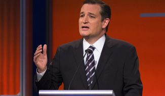 Republican presidential candidate and Sen. Ted Cruz, R-Texas, speaks during the first Republican presidential debate at the Quicken Loans Arena Thursday, Aug. 6, 2015, in Cleveland. (AP Photo/John Minchillo)