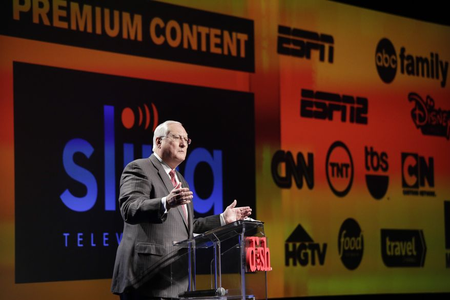 FILE- In this Jan. 5, 2015 file photo, Joe Clayton, president and CEO of Dish Network, introduces the Sling TV, a live television streaming service, at a news conference at the International CES in Las Vegas. Dish said its satellite TV subscriber losses accelerated in the quarter through June, falling 81,000 to 13.9 million, nearly double the loss of 44,000 a year ago. Analysts say that popular channels like ESPN would likely survive any dramatic shift in consumer preference toward online channel packages like Sling TV, which at $20 a month, is far cheaper than traditional pay TV packages. (AP Photo/Jae C. Hong, File)