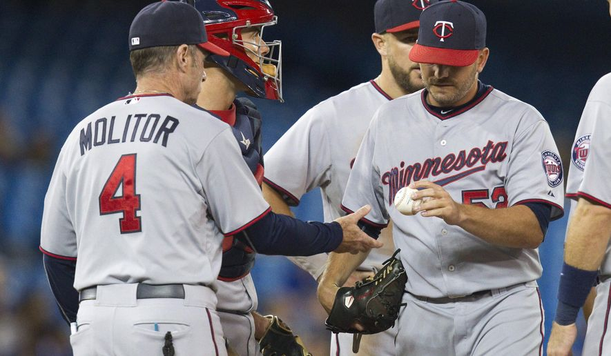 Minnesota Twins manager Paul Molitor takes pitcher J.R. Graham out of the baseball game during the fifth inning against the Blue Jays on Wednesday, Aug. 5, 2015, in Toronto. (Fred Thornhill/The Canadian Press via AP)