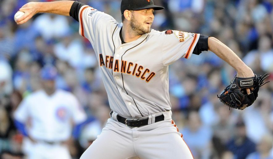San Francisco Giants starting pitcher Chris Heston throws against the Chicago Cubs during the first inning of a baseball game, Thursday, Aug.  6, 2015, in Chicago. (AP Photo/David Banks)