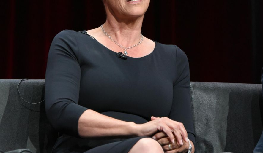"""Jamie Lee Curtis participates in the """"Scream Queens"""" panel at the Fox Summer TCA Tour at the Beverly Hilton Hotel on Thursday, Aug. 6, 2015, in Beverly Hills, Calif. (Photo by Richard Shotwell/Invision/AP)"""