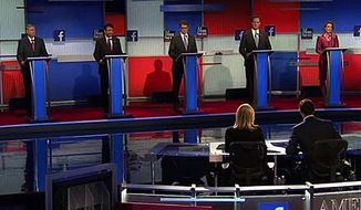"Seven GOP presidential candidates who didn't make the cut to be in the first prime-time debate later Thursday took to the stage for what was called the ""kiddie's table"" debate. (Fox News)"