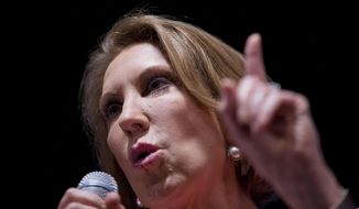 Republican presidential candidate Carly Fiorina speaks at the RedState Gathering in Atlanta on Aug. 7, 2015. (Associated Press) **FILE**