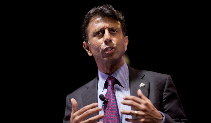 Republican presidential candidate and Louisiana Gov. Bobby Jindal speaks at the RedState Gathering in Atlanta on Aug. 7, 2015. (Associated Press) **FILE**