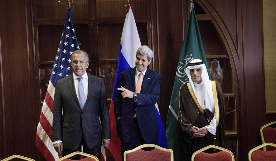In this Monday Aug. 3, 2015, file photo, Russia's Foreign Minister Sergey Lavrov, from left, U.S. Secretary of State John Kerry and Saudi Foreign Minister Adel al-Jubeir stand together before a trilateral meeting in Doha, Qatar. (Brendan Smialowski/Pool photo via AP, File)
