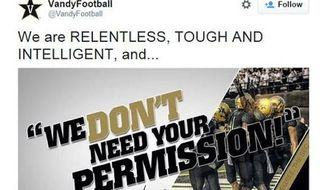 "The Vanderbilt athletic department will undergo ""an intense internal review"" after a football tweet declared, ""We don't need your permission,"" as four former players face allegations of raping an unconscious female student. (@VandyFootball via The Tennessean)"