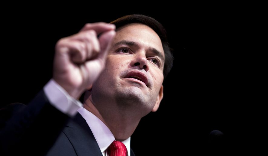 Sen. Marco Rubio, Florida Republican and 2016 presidential candidate, speaks at the RedState Gathering in Atlanta on Aug. 7, 2015. (Associated Press) **FILE**