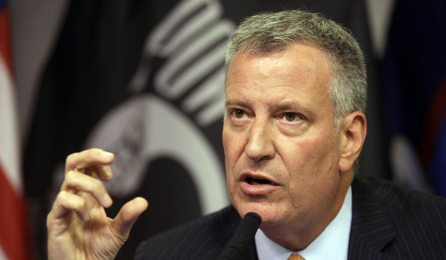 New York City Mayor Bill de Blasio speaks during a news conference to provide an update of the Legionnaires' disease outbreak, Saturday, Aug. 8, 2015, in New York. (AP Photo/Mary Altaffer) ** FILE **