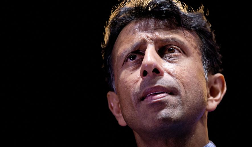 Louisiana Gov. and GOP presidential hopeful Bobby Jindal speaks at the RedState Gathering in Atlanta on Aug. 7, 2015. (Associated Press) **FILE**