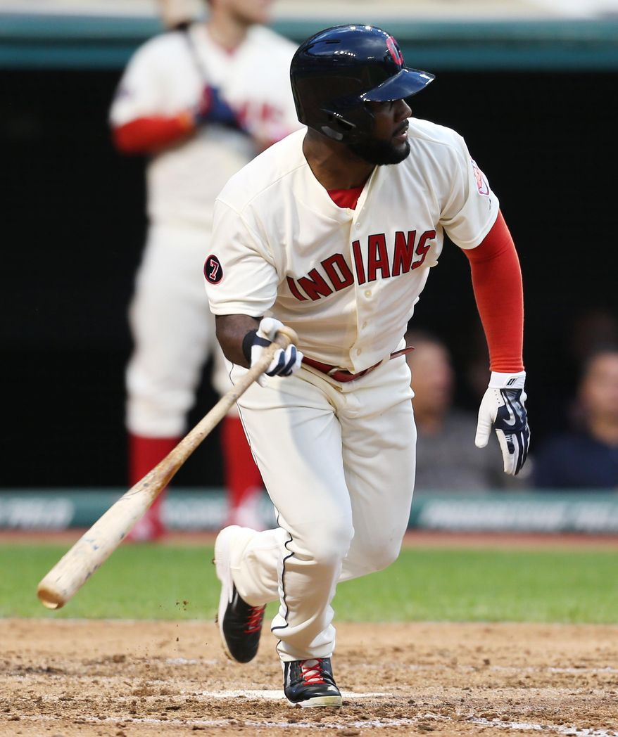 Cleveland Indians' Abraham Almonte doubles off Minnesota Twins starting pitcher Ervin Santana during the third inning of a baseball game, Saturday, Aug. 8, 2015, in Cleveland. (AP Photo/Ron Schwane)