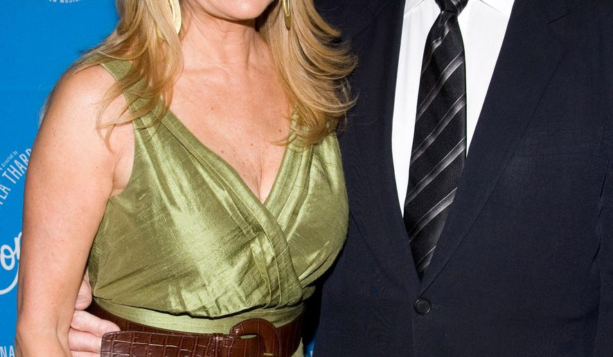 FILE - In this March 25, 2010 file photo, Kathie Lee Gifford and Frank Gifford arrive at the opening night performance of the Broadway musical 'Come Fly Away' in New York.  In a statement released by NBC News on Sunday, Aug. 9, 2015, his family said Gifford died suddenly at his Connecticut home of natural causes that morning.  (AP Photo/Charles Sykes, File)