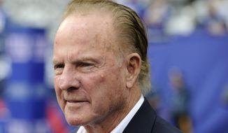 FILE - In this Sept. 15, 2013 file photo, former New York Giants player Frank Gifford looks on before an NFL football game between the New York Giants and the Denver Broncos in East Rutherford, N.J.  In a statement released by NBC News on Sunday, Aug. 9, 2015, his family said Gifford died suddenly at his Connecticut home of natural causes that morning. He was 84. (AP Photo/Bill Kostroun, File)