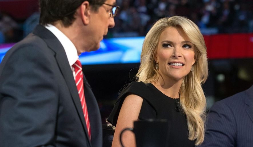 """In this Thursday, Aug. 6, 2015 photo, Fox News moderators Megyn Kelly, right, listens as Chris Wallace, begins introductions during the first Republican presidential debate at the Quicken Loans Arena, in Cleveland. Angry over what he considered unfair treatment at the debate, republican presidential candidate Donald Trump told CNN on Friday night that Kelly had """"blood coming out of her eyes, blood coming out of her wherever."""" (AP Photo/John Minchillo)"""