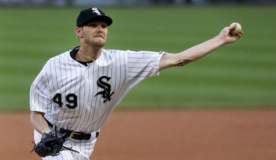 Chicago White Sox starting pitcher Chris Sale delivers during the first inning of a baseball game against the Los Angeles Angels Monday, Aug. 10, 2015, in Chicago. (AP Photo/Charles Rex Arbogast)