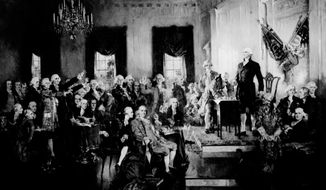 This photo provided by the Library of Congress shows a painting by Howard Chandler Christy on display in the U.S. Capitol of George Washington presiding at the signing of the Constitution of the United States in Philadelphia on Sept. 17, 1787. As Republicans win control of more legislatures across the country, some want to use their growing power to limit federal spending and are considering calling a national constitutional convention. The move would be historic, as there has not been one since Washington led the original proceedings himself. But looking strictly at the math, the notion is not entirely out of reach. (Library of Congress via AP)