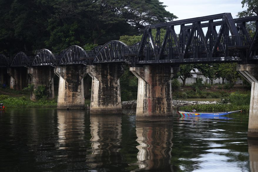 The bridge on the River Kwai is part of Thailand's most famous rail line, but its new link to Cambodia carries symbolic significance. (Associated Press/File)
