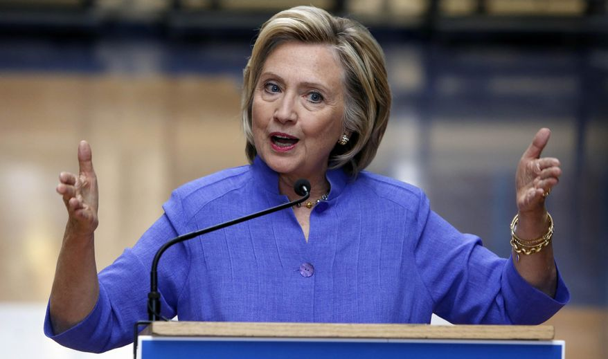 Democratic presidential candidate Hillary Rodham Clinton answers reporters questions about Republican presidential candidate Donald Trump after announcing her college affordability plan at the high school in Exeter, N.H., on Aug. 10, 2015. (Associated Press) **FILE**