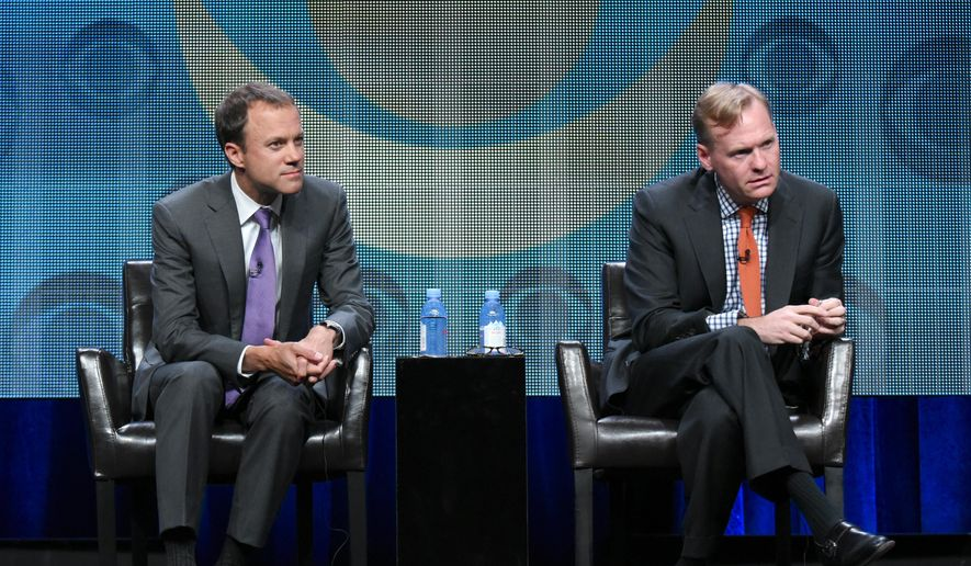 CBS News President David Rhodes, left, and John Dickerson, political director for CBS News, participate in the CBS News panel at the CBS Summer TCA Tour at the Beverly Hilton Hotel on Monday, Aug. 10, 2015, in Beverly Hills, Calif. (Photo by Richard Shotwell/Invision/AP) ** FILE **