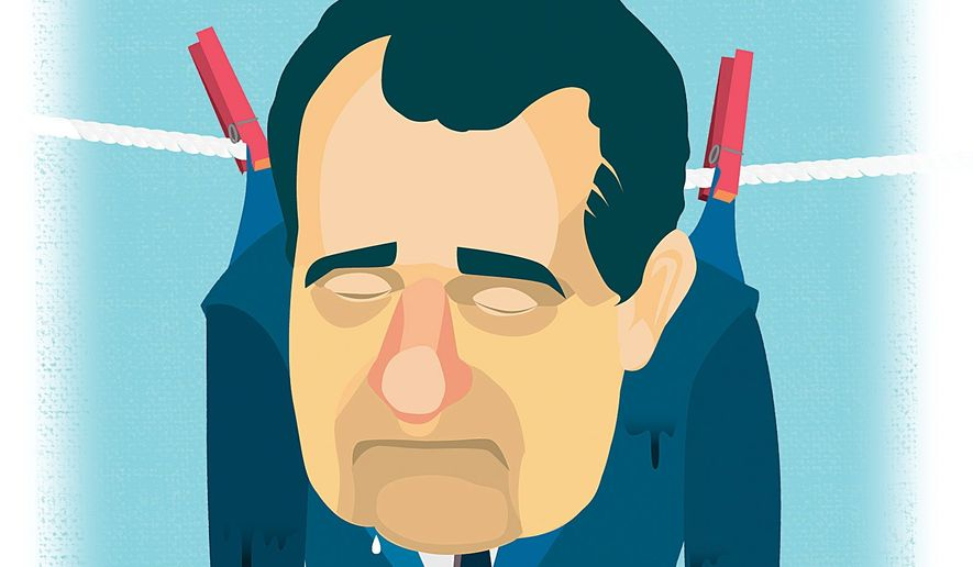 Illustration on the injustice of the Watergate scandal and it's aftermath by Linas Garsys/The Washington Times