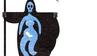 Illustration on the real spirit of abortion by Alexander Hunter/The Washington Times