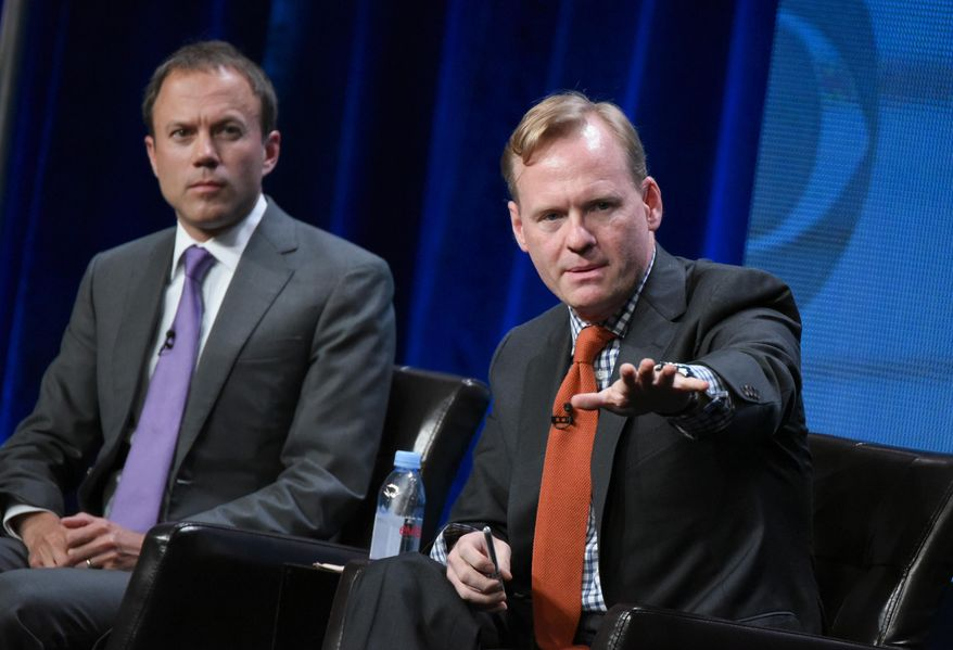 President, CBS News, David Rhodes, left, and Political Director, CBS News, John Dickerson, participate in the CBS News panel at the CBS Summer TCA Tour at the Beverly Hilton Hotel on Monday, Aug. 10, 2015, in Beverly Hills, Calif. (Photo by Richard Shotwell/Invision/AP)