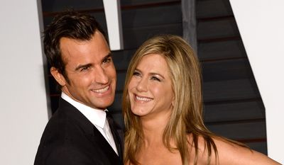 In this Feb. 22, 2015, file photo, Justin Theroux, left, and Jennifer Aniston arrive at the 2015 Vanity Fair Oscar Party in Beverly Hills, Calif. Howard Stern has revealed details about the secret wedding between Jennifer Aniston and Justin Theroux, including that Jimmy Kimmel officiated. (Photo by Evan Agostini/Invision/AP, File)