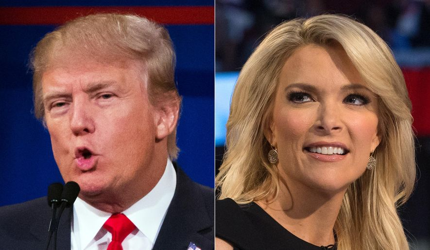 This combination made from Aug. 6, 2015, photos shows Republican presidential candidate Donald Trump, left, and Fox News Channel host and moderator Megyn Kelly during the first Republican presidential debate at the Quicken Loans Arena, in Cleveland. (AP Photo/John Minchillo) ** FILE **