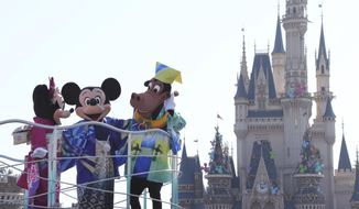 In this Jan. 1, 2014, file photo, Mickey Mouse, center, Minnie Mouse, left, and Horace Horsecollar, all clad in Japan's traditional kimono, entertain visitors to the Tokyo Disneyland during the New Year's celebration at the amusement park in Urayasu, east of Tokyo. (AP Photo/Koji Sasahara)